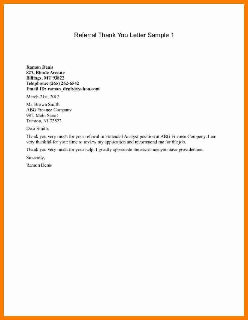 Letter to Referring Physician New 9 Thank You Letter to Referring Physician Template