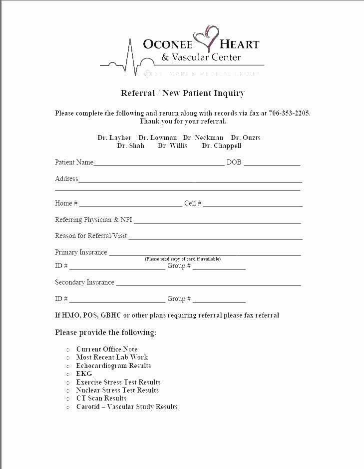 Letter to Referring Physician Template Unique Patient Referral form Template Free Medical Referral form