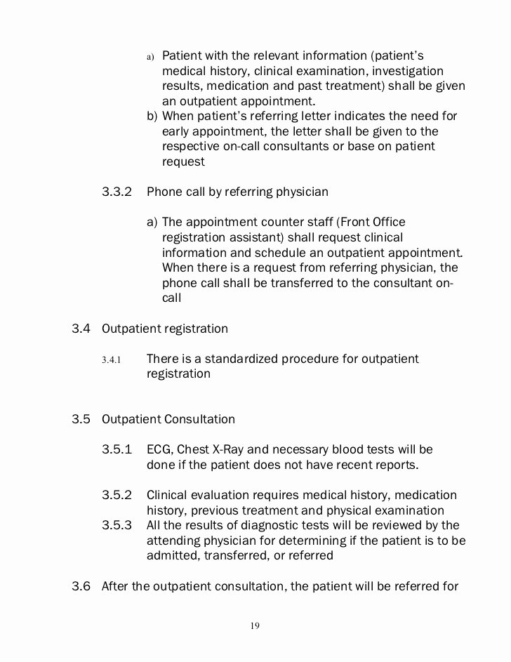 Letter to Referring Physician Unique Policies and Procedure Nursing