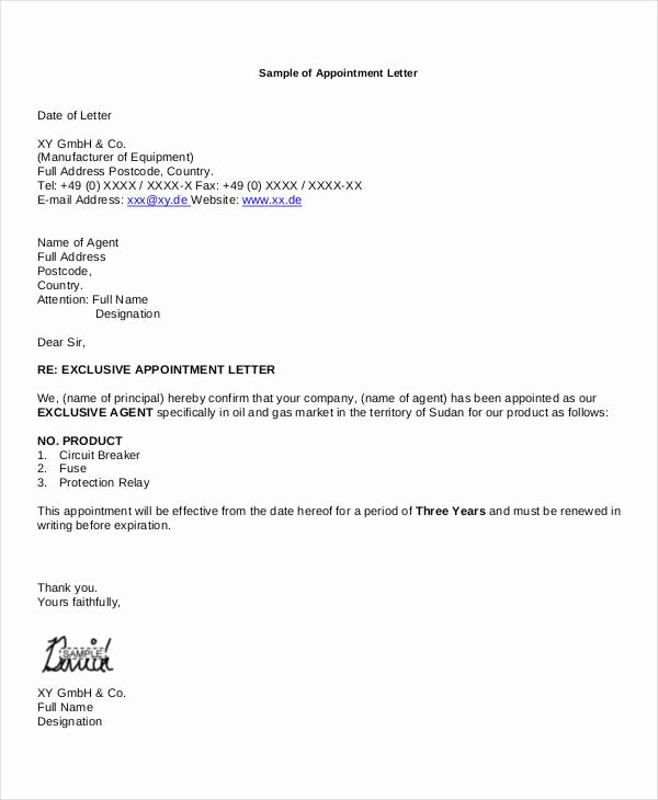 Letter to Representative format Awesome Business Appointment Letters 9 Free Word Pdf format