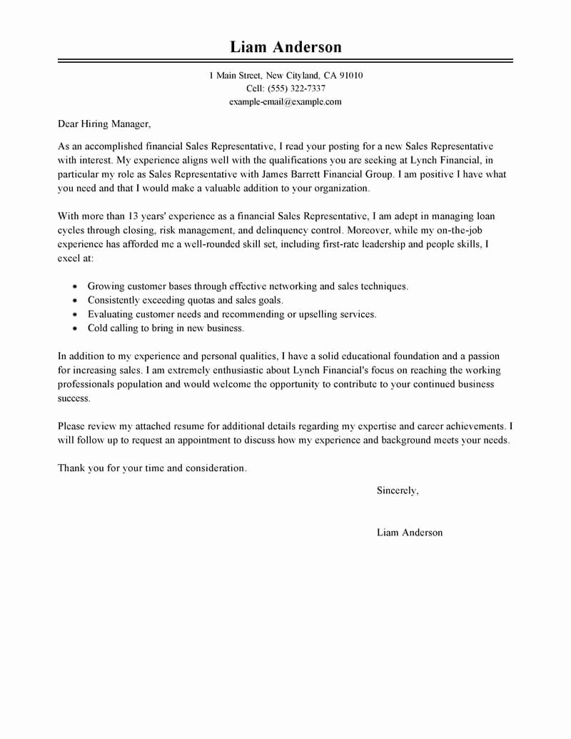 Letter to Representative format Beautiful Best Sales Representative Cover Letter Examples