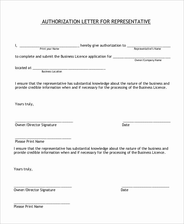 Letter to Representative format Elegant Sample Authorization Letter 10 Examples In Word Pdf