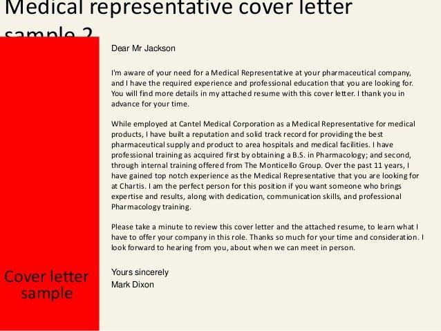 Letter to Representative format Inspirational Medical Representative Cover Letter