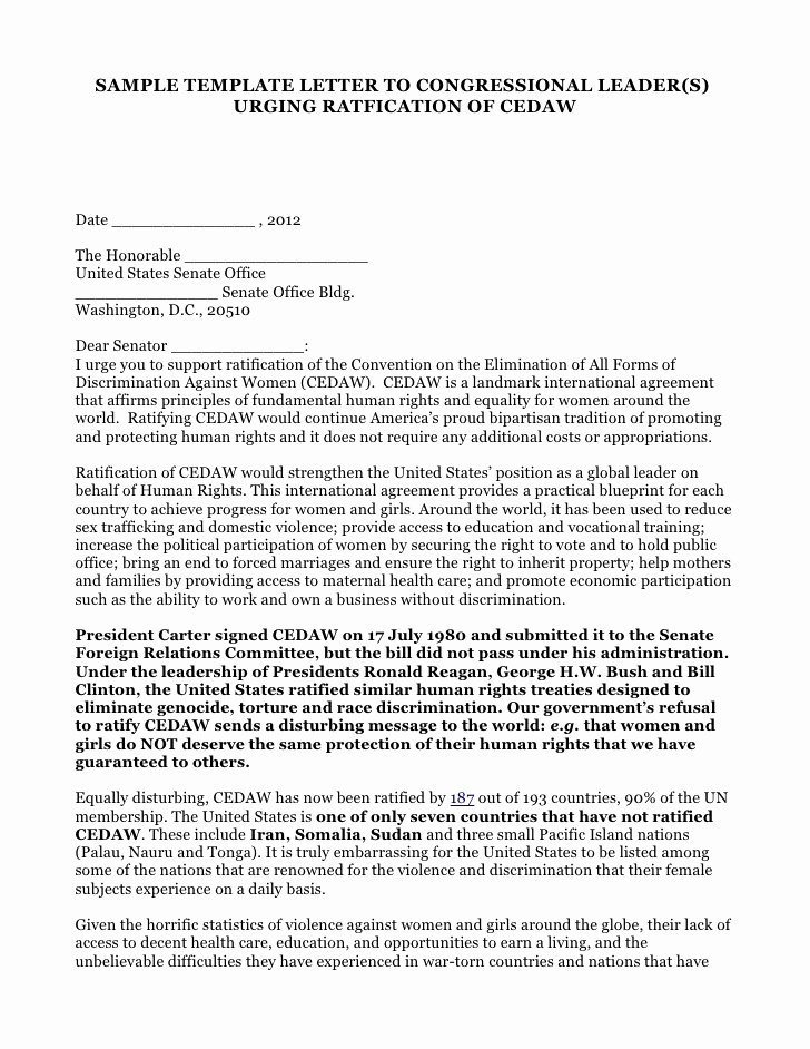 Letter to Representative format Inspirational Sample Template to Congressional Leaders