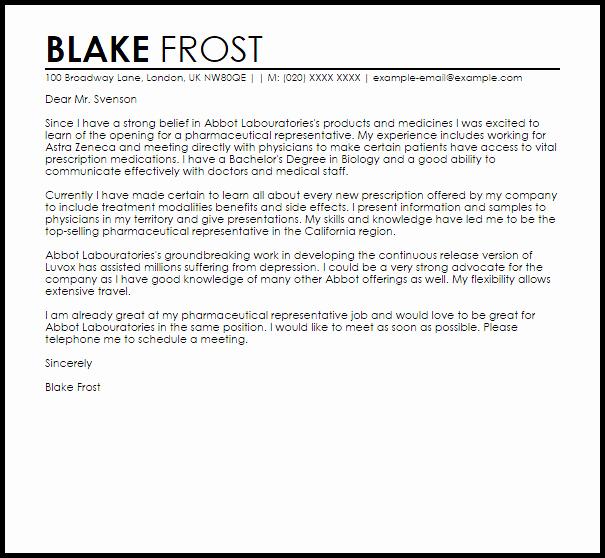 Letter to Representative format Lovely Pharmaceutical Representative Cover Letter Sample