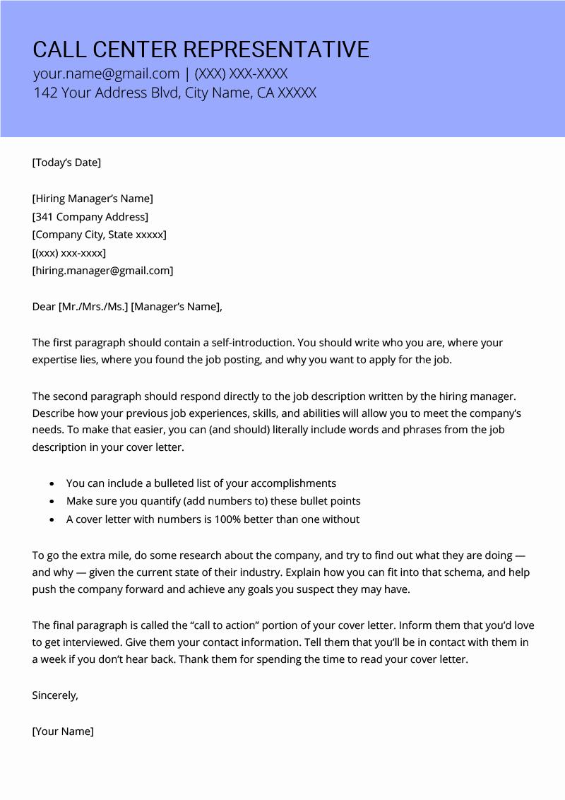 Letter to Representative format Unique Call Center Representative Cover Letter