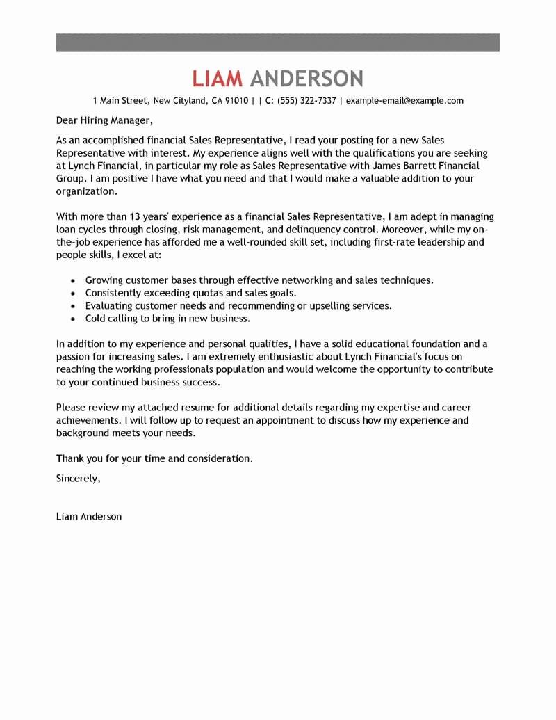 Letter to Senator format Elegant Best Sales Representative Cover Letter Examples