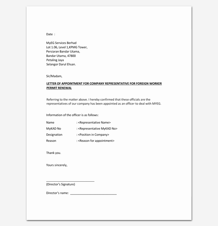 Letter to Senator format Elegant Pany Appointment Letter 9 Docs for Word and Pdf format