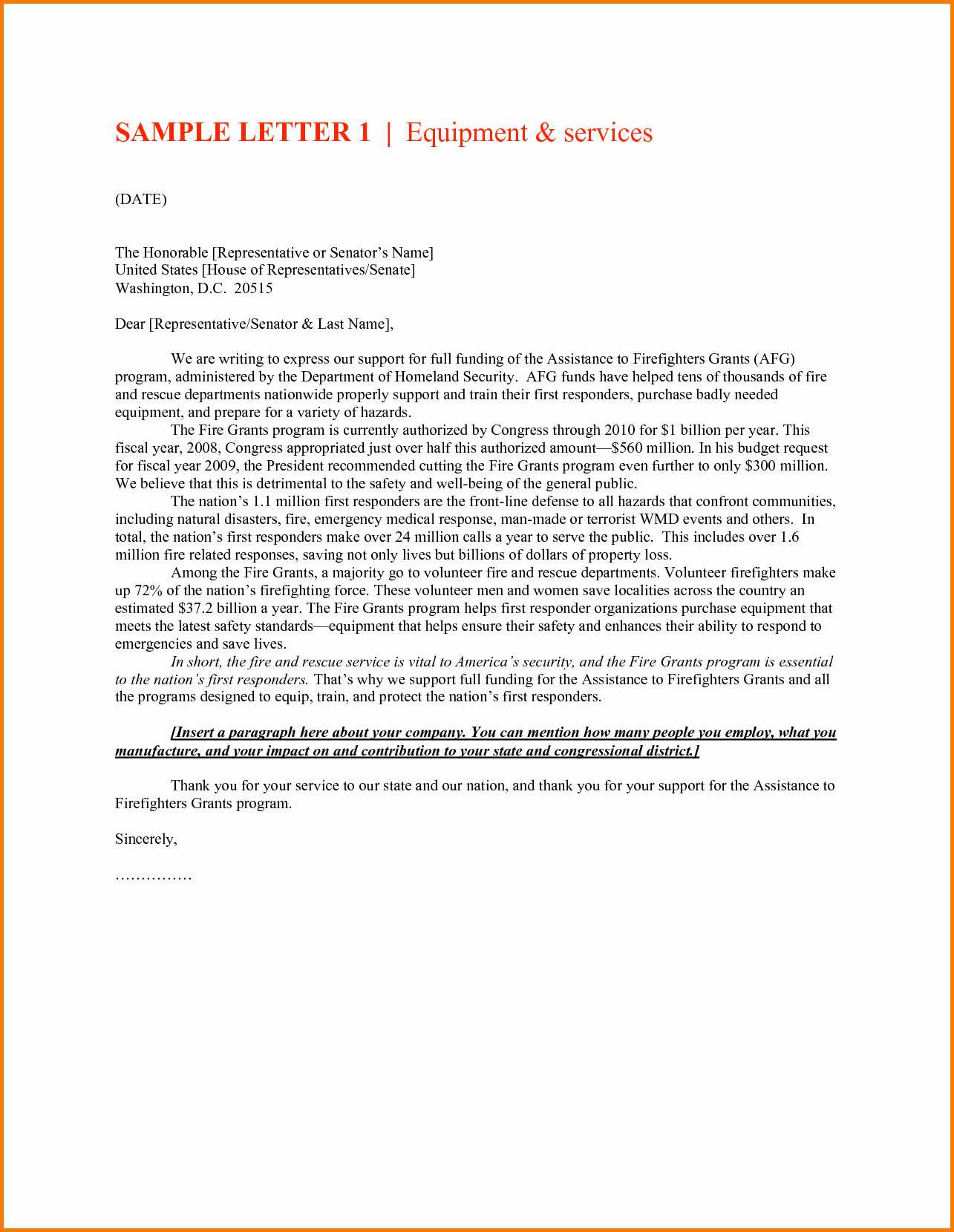 Letter to Senator format Unique Authorized Representative Letter