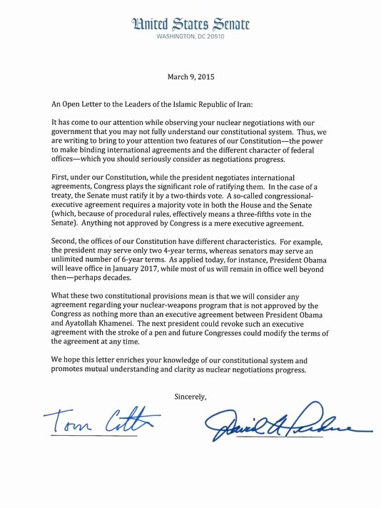 Letter to Senator format Unique Dear Iran Letter Subverts Nuclear Talks Our View