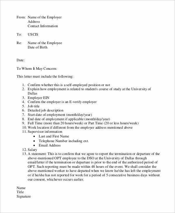 Letter to Uscis format Luxury 8 Verification Of Employment Letter Samples