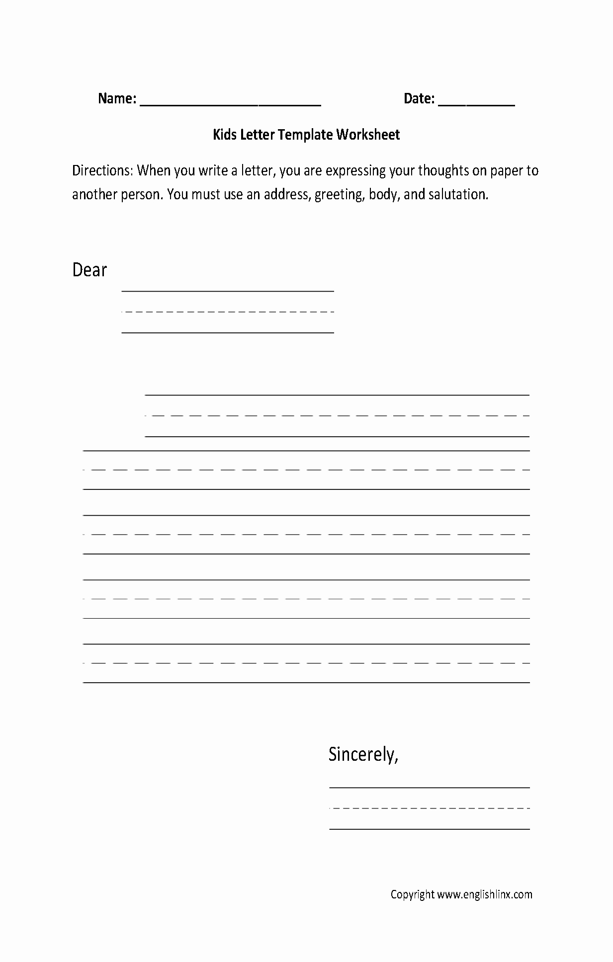 Letter Writing format for Students Awesome Writing Worksheets