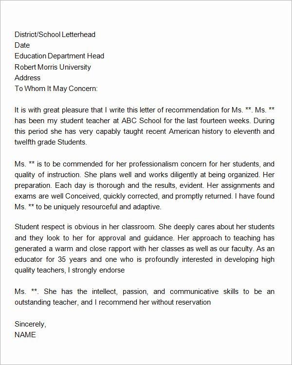 Letter Writing format for Students Best Of 19 Letter Of Re Mendation for Teacher Samples Pdf Doc