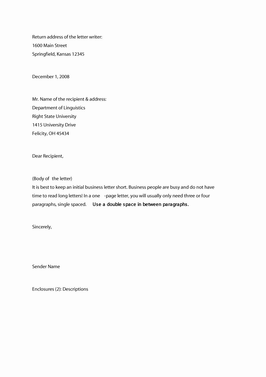 Letter Writing format for Students Inspirational 35 formal Business Letter format Templates & Examples