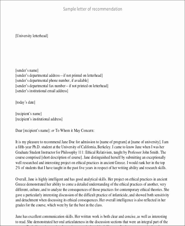 Letter Writing format for Students Lovely 8 Student Letter Templates 8 Free Sample Example