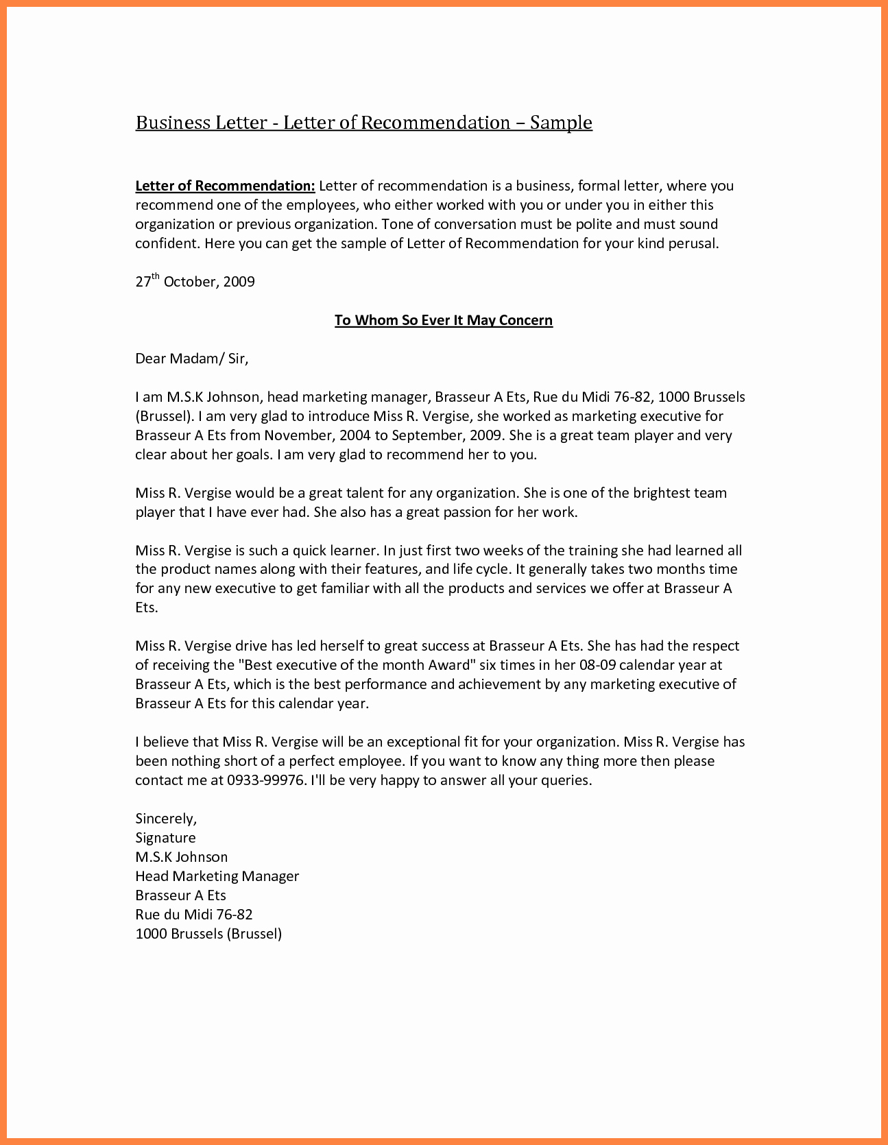 Letterhead for Letter Of Recommendation Beautiful 8 Pany Letter Of Re Mendation Sample