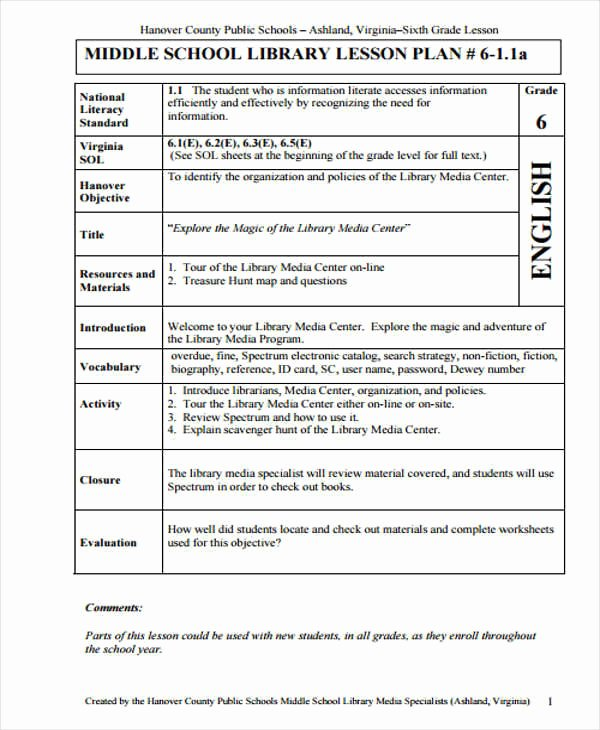 Librarian Lesson Plan Template Inspirational School Library Lesson Plan Template