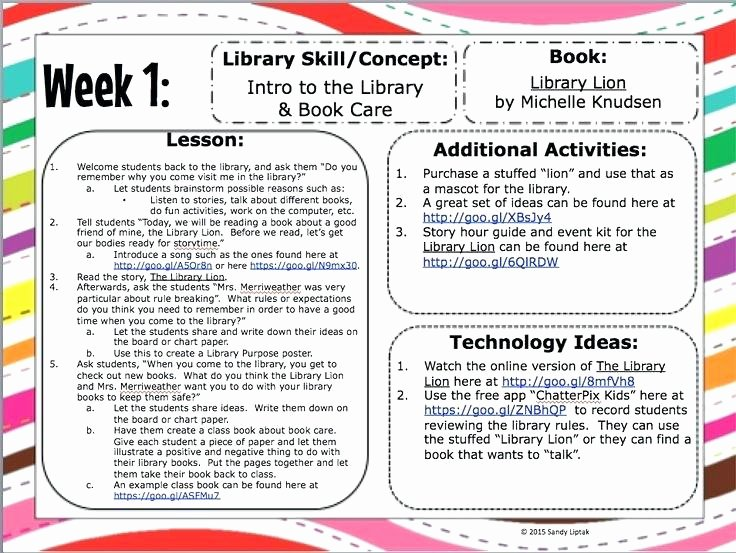 Library Lesson Plan Template Fresh Elementary Library Lesson Plans Lesson Plans for the Busy