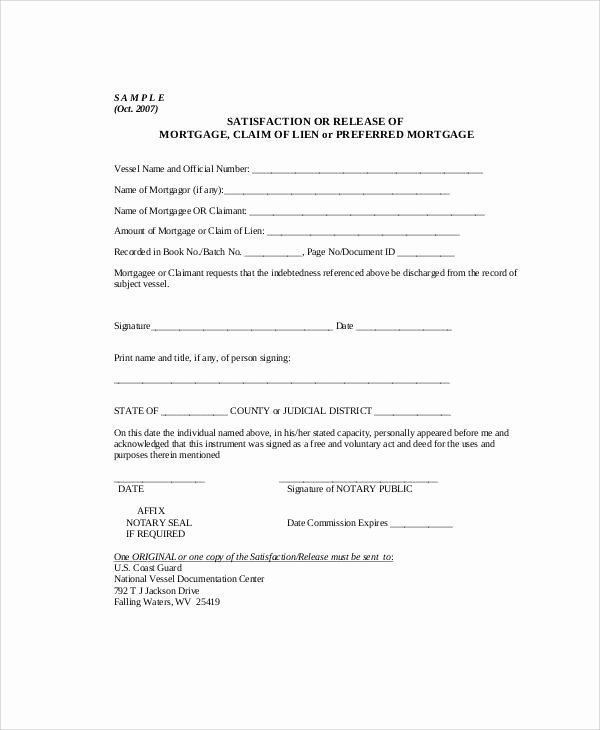Lien Release Letter Template Beautiful Sample Mortgage Release form 7 Examples In Word Pdf