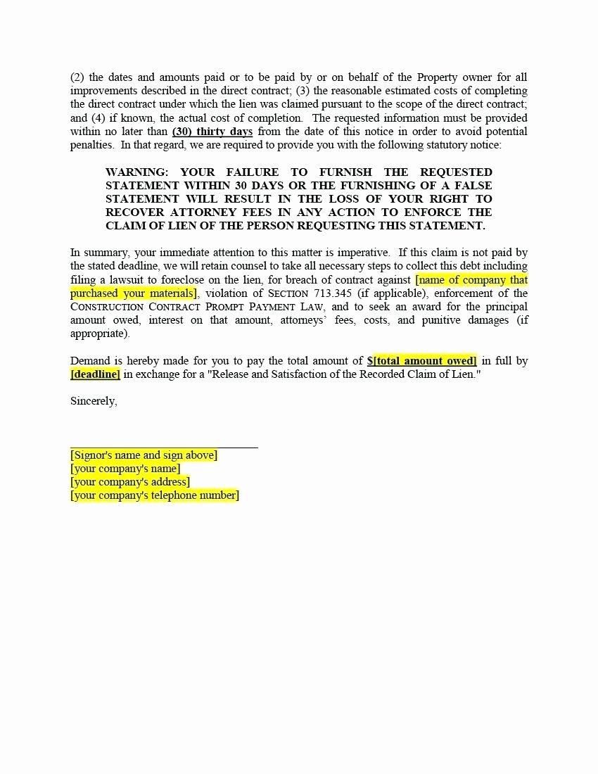 Lien Release Letter Template Fresh Notice Lien Letter Template Collection