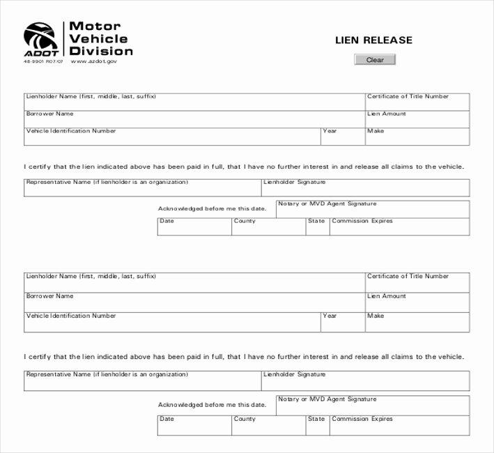 Lien Release Letter Template Inspirational Auto Lien Release Letter Template Vehicle Lien form