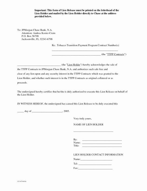 Lien Release Letter Template Lovely Letter Release form Mechanics Lien Release form Auto