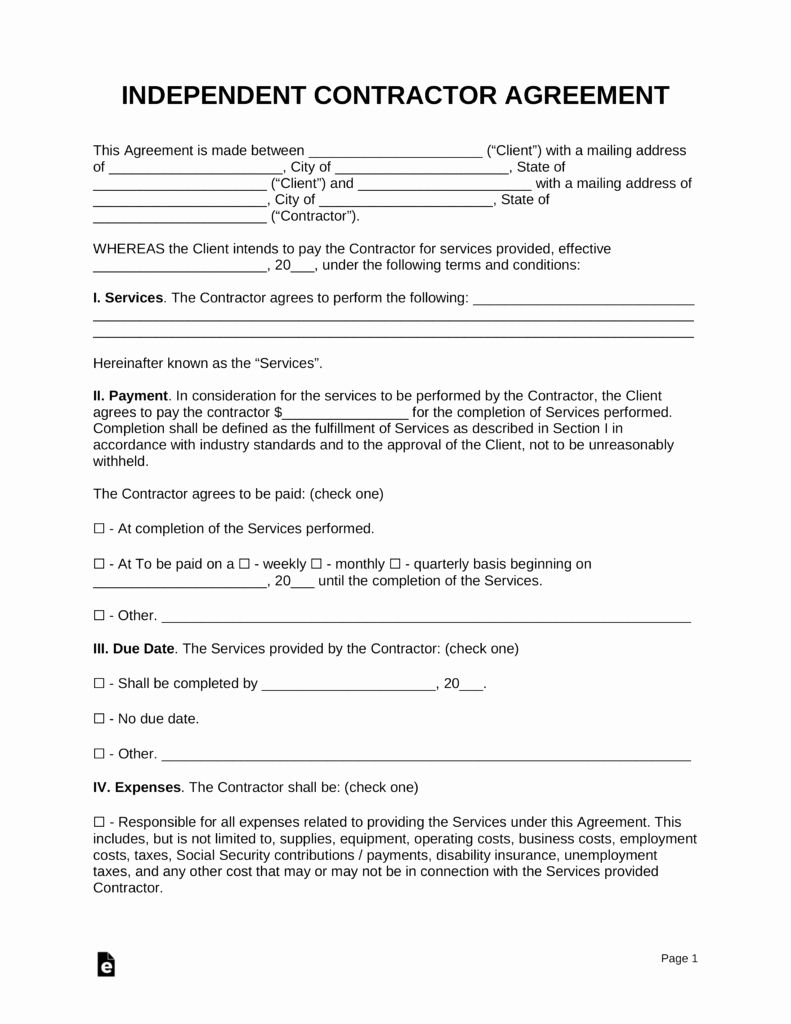 Living Agreement Contract Beautiful Free Independent Contractor Agreement Template Pdf