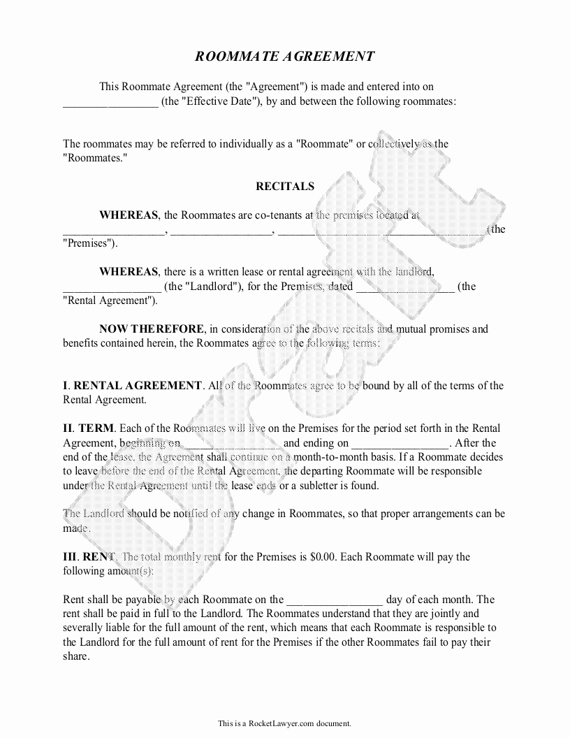 Living Agreement Contract Beautiful Roommate Agreement Template Free form with Sample