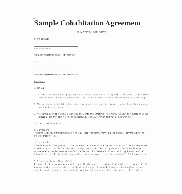 Living Agreement Contract Fresh Living Agreement Contract Template Free Roommate Contract