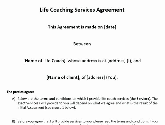 Living Agreement Contract Lovely Life Coaching Contract Living Agreement Template Will Free