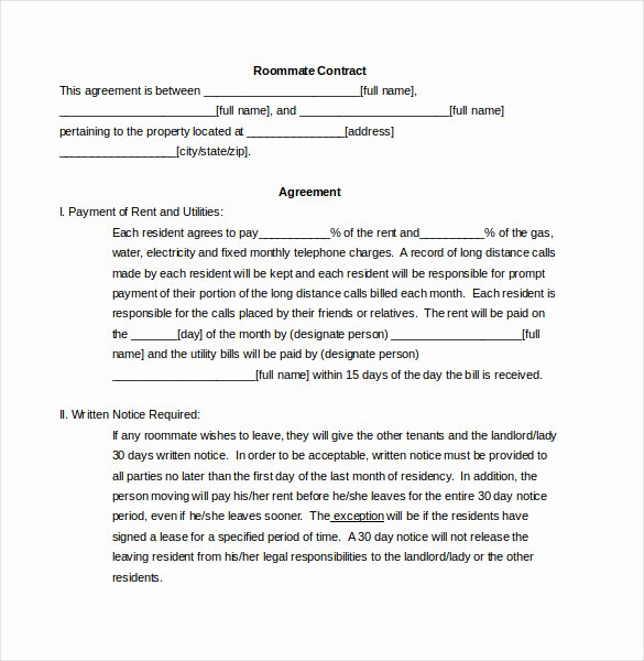 Living Agreement Contract New Roommate Agreement Template – 12 Free Word Pdf Document