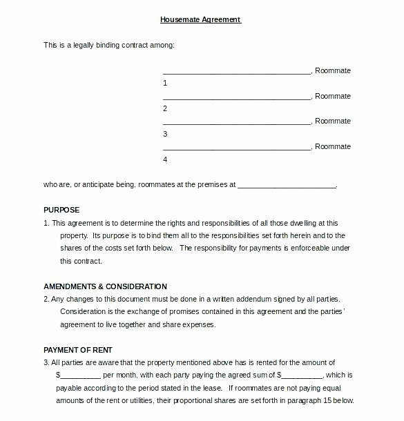 Living Agreement Contract Template Beautiful House Rules for Roommates Template – Carpatyfo