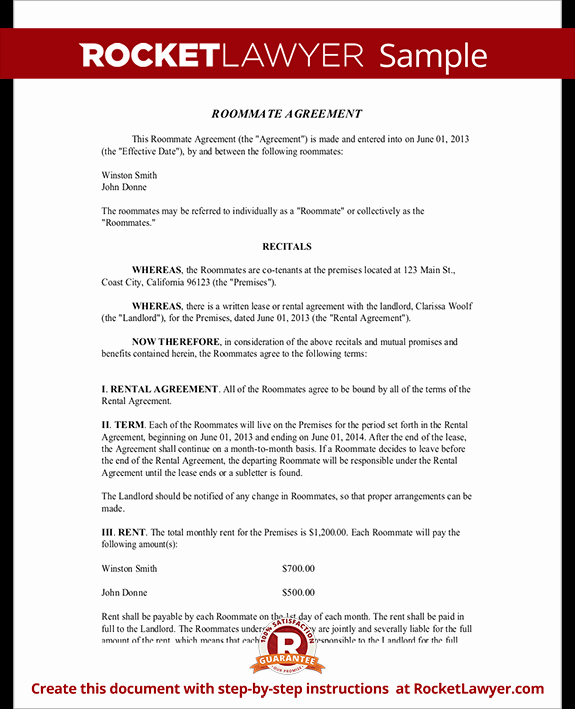 Living Agreement Contract Template Lovely Roommate Contract Room Rental Agreement