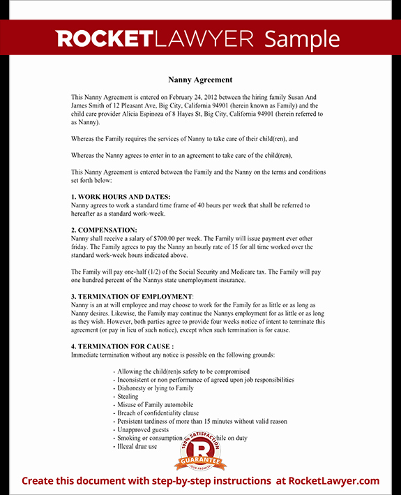 Living Agreement Contract Template Luxury Child Care Contract Agreement form with Sample