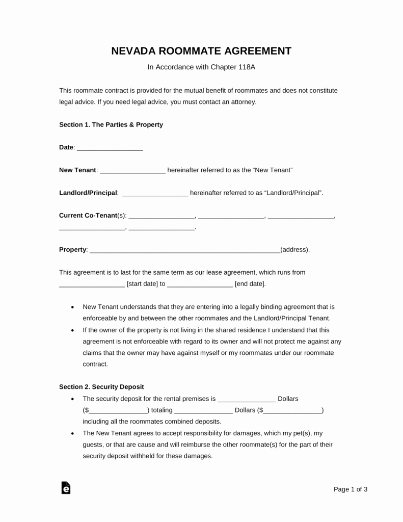 Living Agreement Contract Template Luxury Free Nevada Roommate Agreement Template Pdf