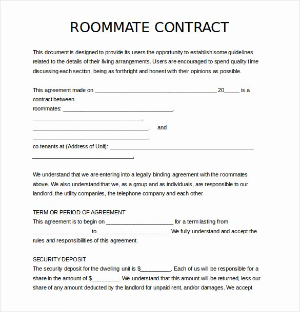 Living Agreement Contract Template Luxury Sample Roommate Agreement