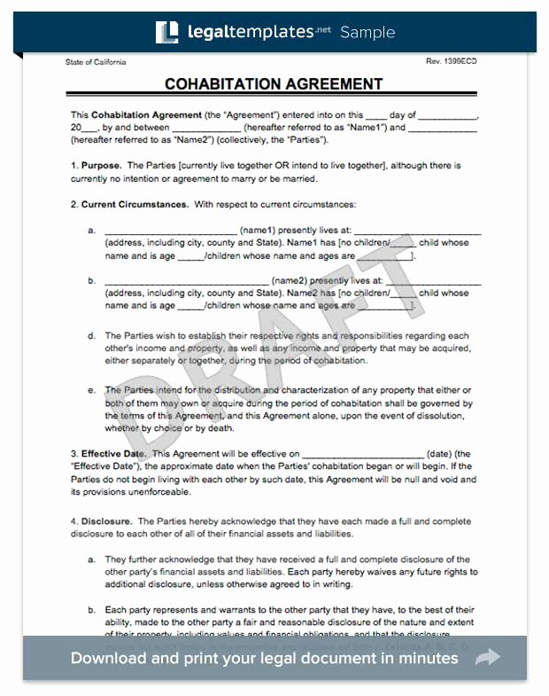Living Agreement Contract Template New Cohabitation Agreement Legal Templates