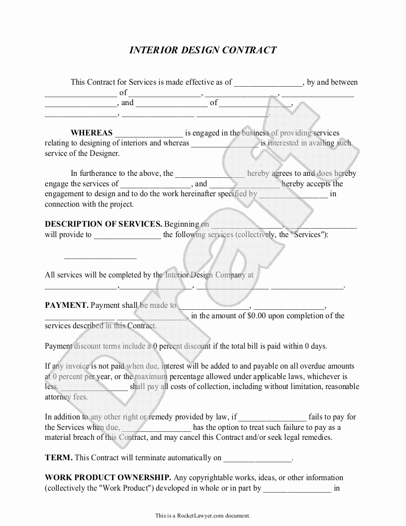 Living Agreement Contract Template Unique Interior Design Contract Agreement Template with Sample