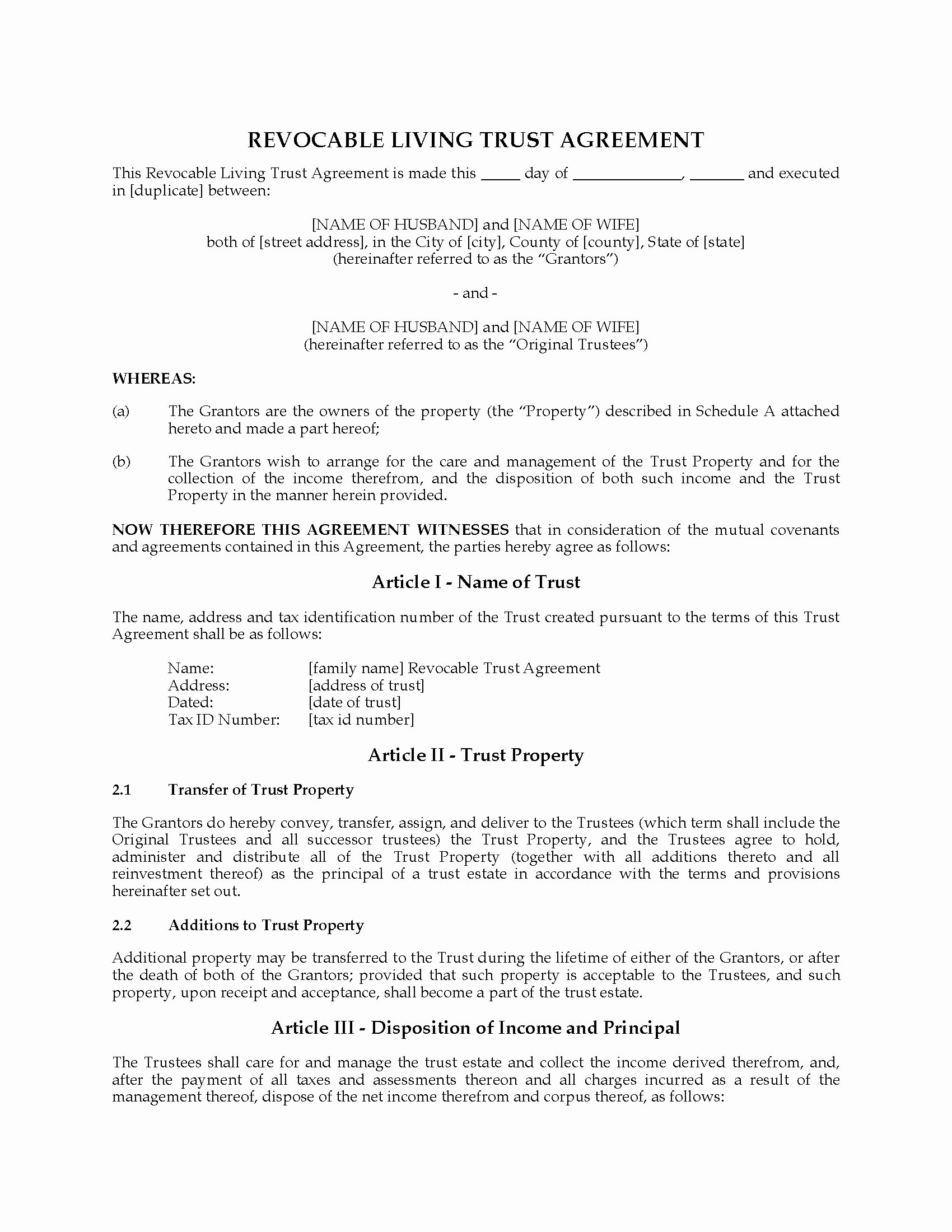 Living Agreement Template Awesome Usa Revocable Living Trust Agreement with Change Of