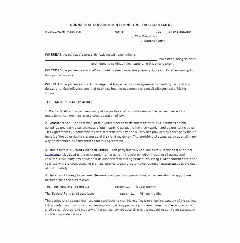 Living Agreement Template Beautiful Cohabitation Agreement 30 Free Templates & forms