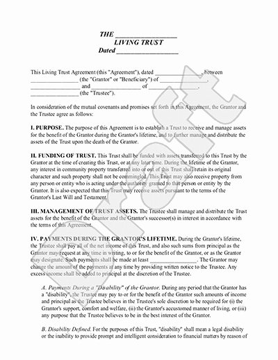Living Agreement Template Beautiful Living Trust form Sample Living Trust Template