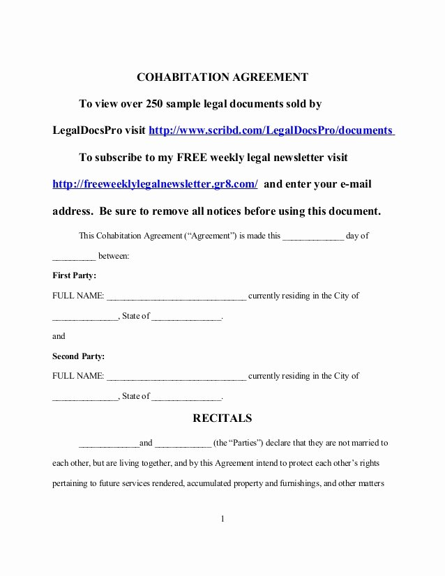 Living Agreement Template Best Of Sample Cohabitation Agreement