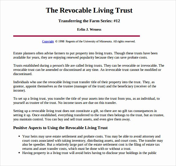 Living Agreement Template Elegant 11 Sample Living Trust form Templates – Samples Examples