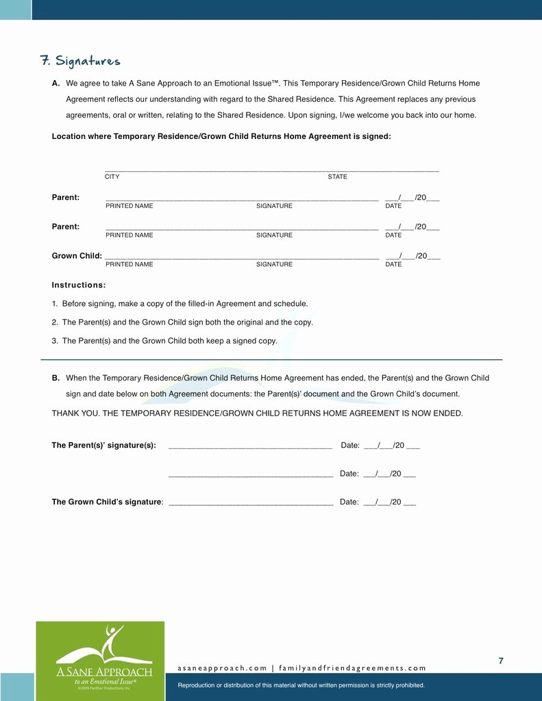 Living Agreement Template Fresh Adult Children Living at Home with Parents Agreement Pdf