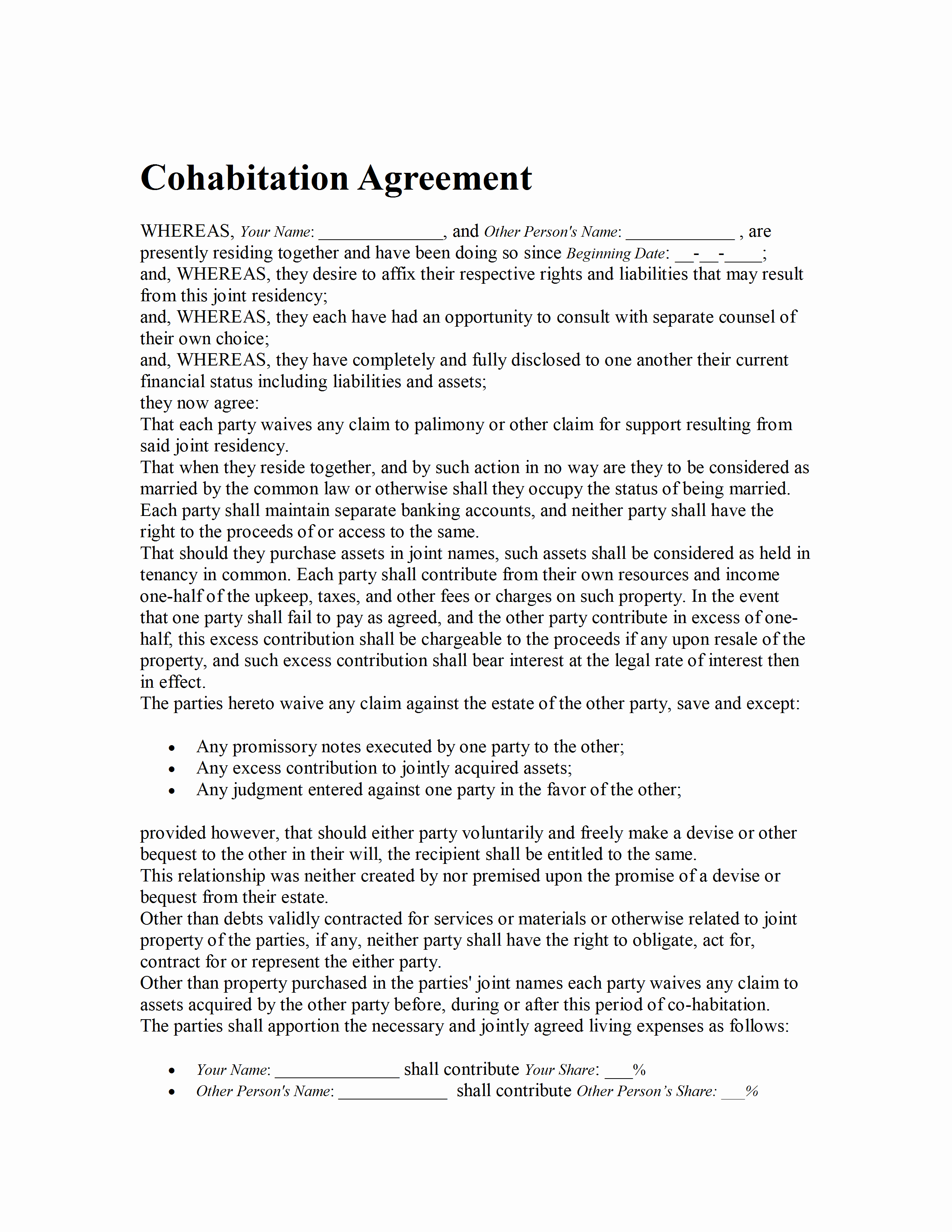 Living Agreement Template Lovely Sample Cohabitation Agreement 100 Nanny Contract Template