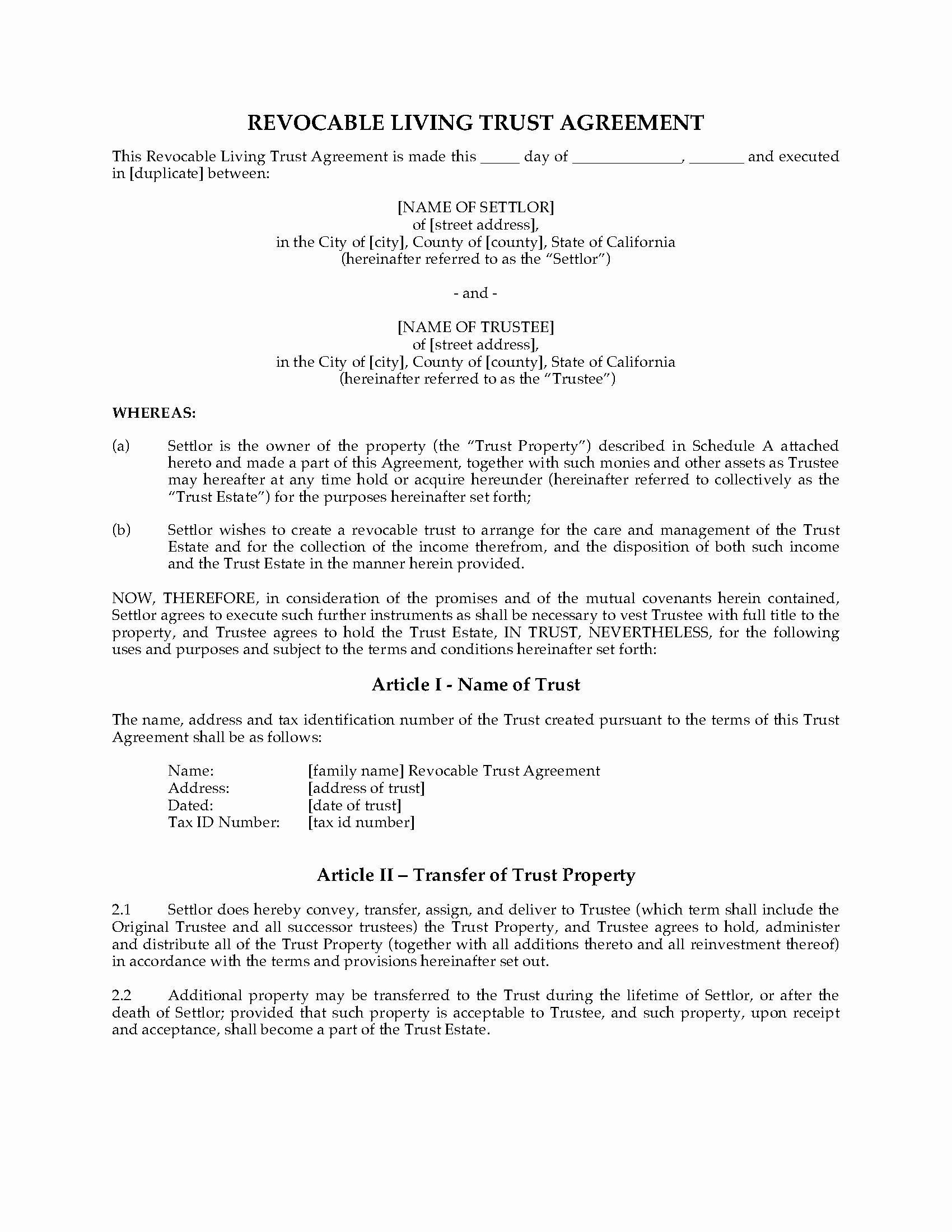 Living Agreement Template Unique California Revocable Living Trust Agreement