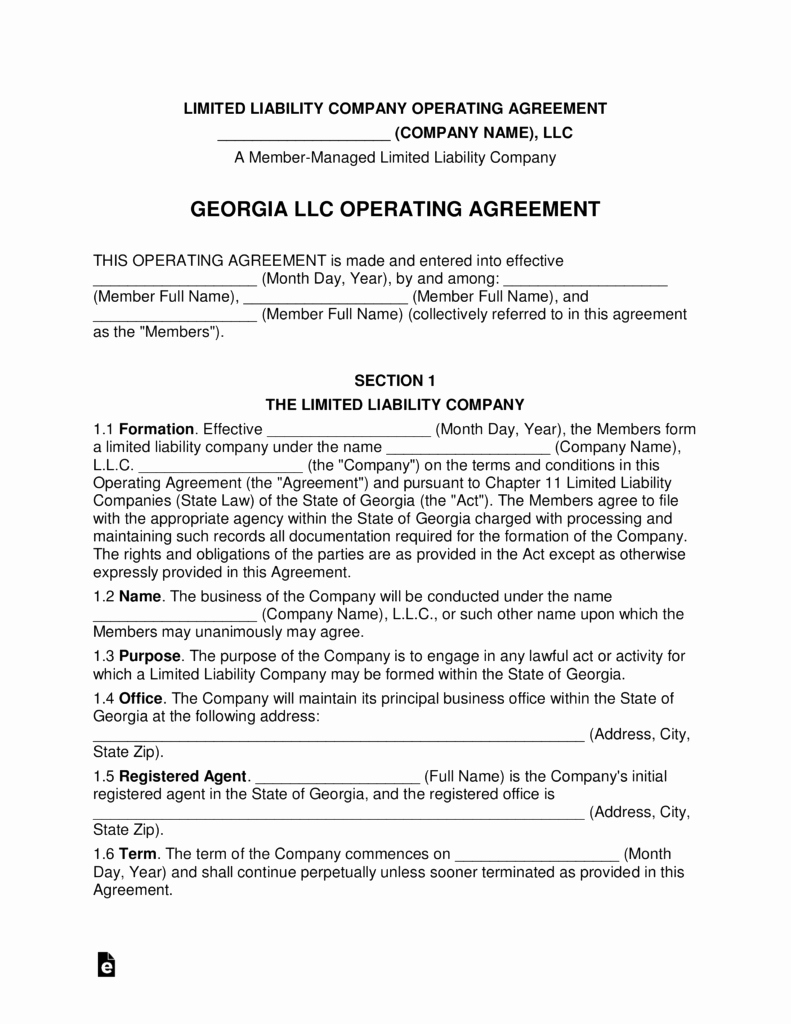 Llc Member Loan Agreement Awesome Georgia Multi Member Llc Operating Agreement form