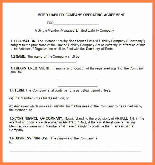 Llc Member Loan Agreement Beautiful 6 Limited Liability Pany Agreement Template