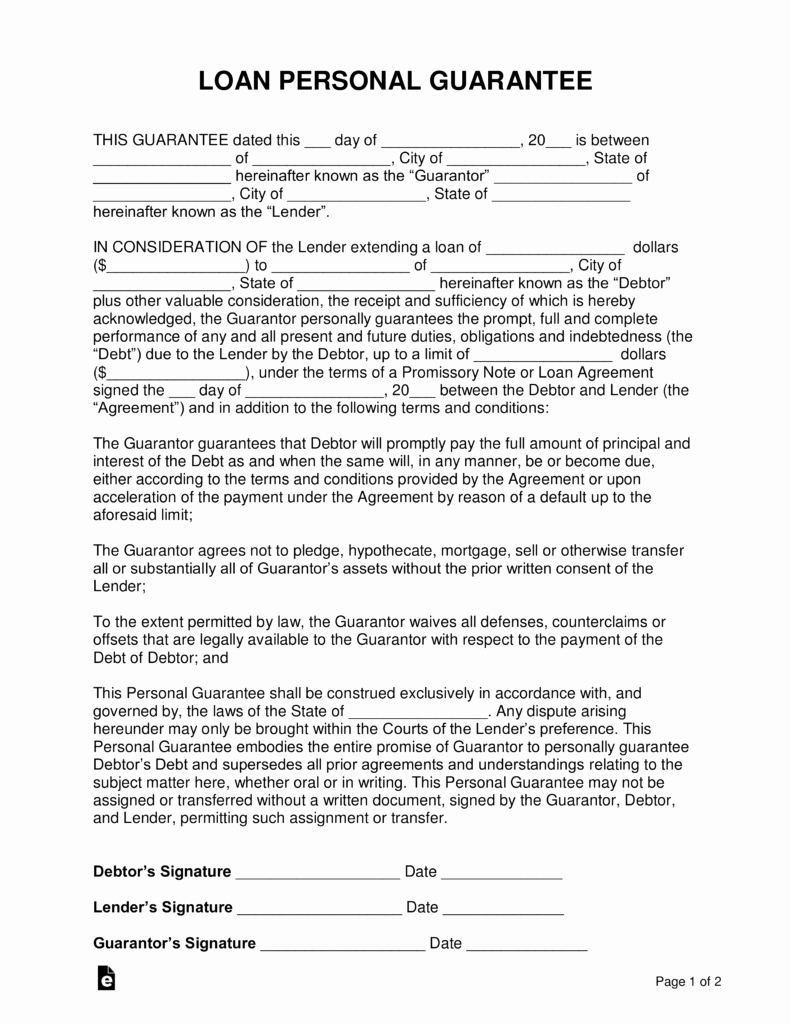 Llc Member Loan Agreement New Free Loan Personal Guarantee form Pdf Word