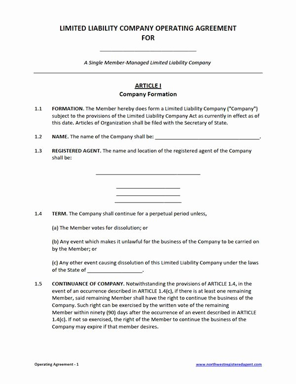 Llc Ownership Transfer Agreement Template Inspirational Free Single Member Llc Operating Agreement Template